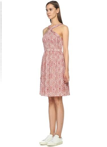 Desenli Askılı Kloş Elbise-Intropia